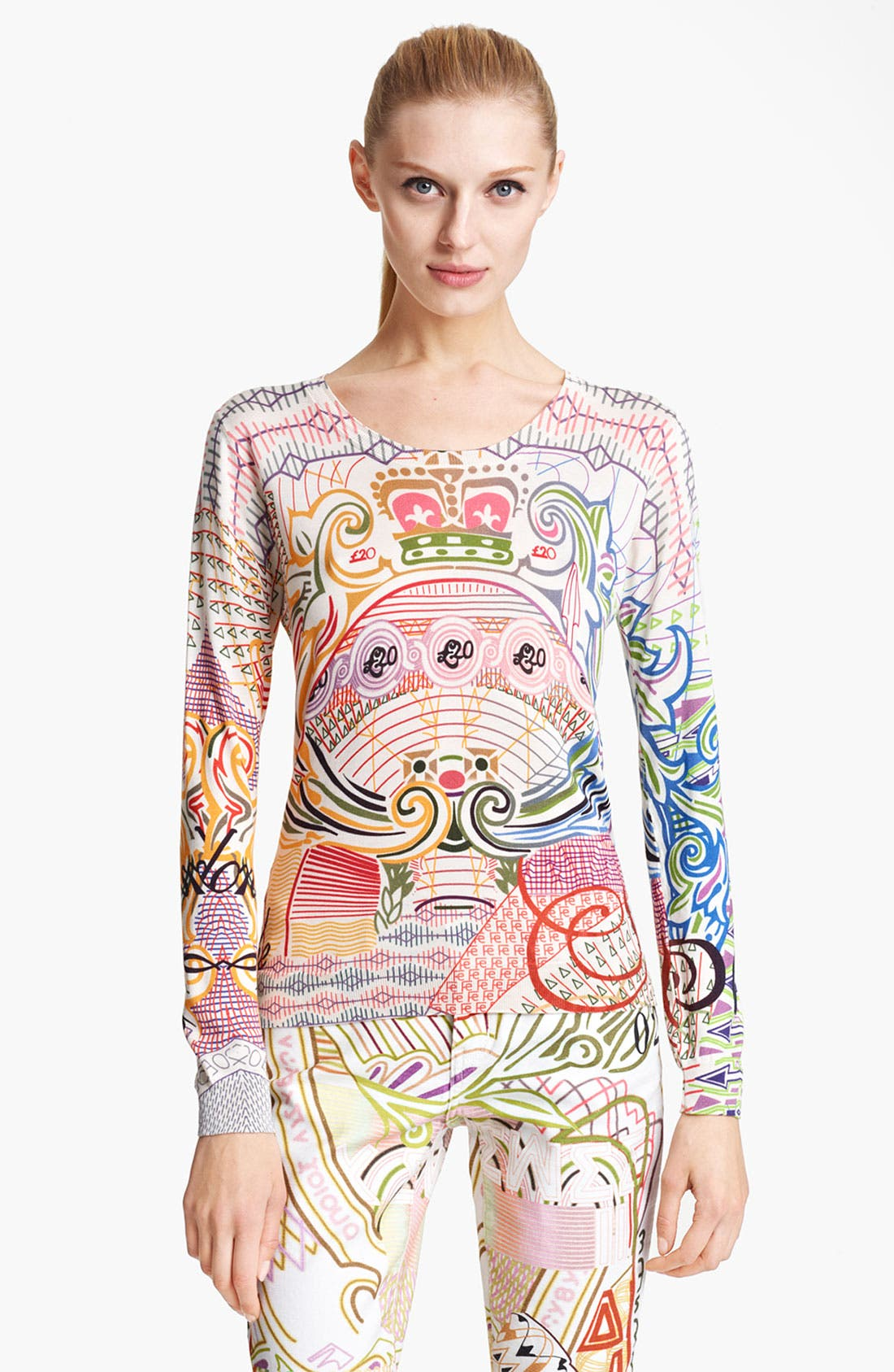 Main Image - Mary Katrantzou Print Silk Sweater