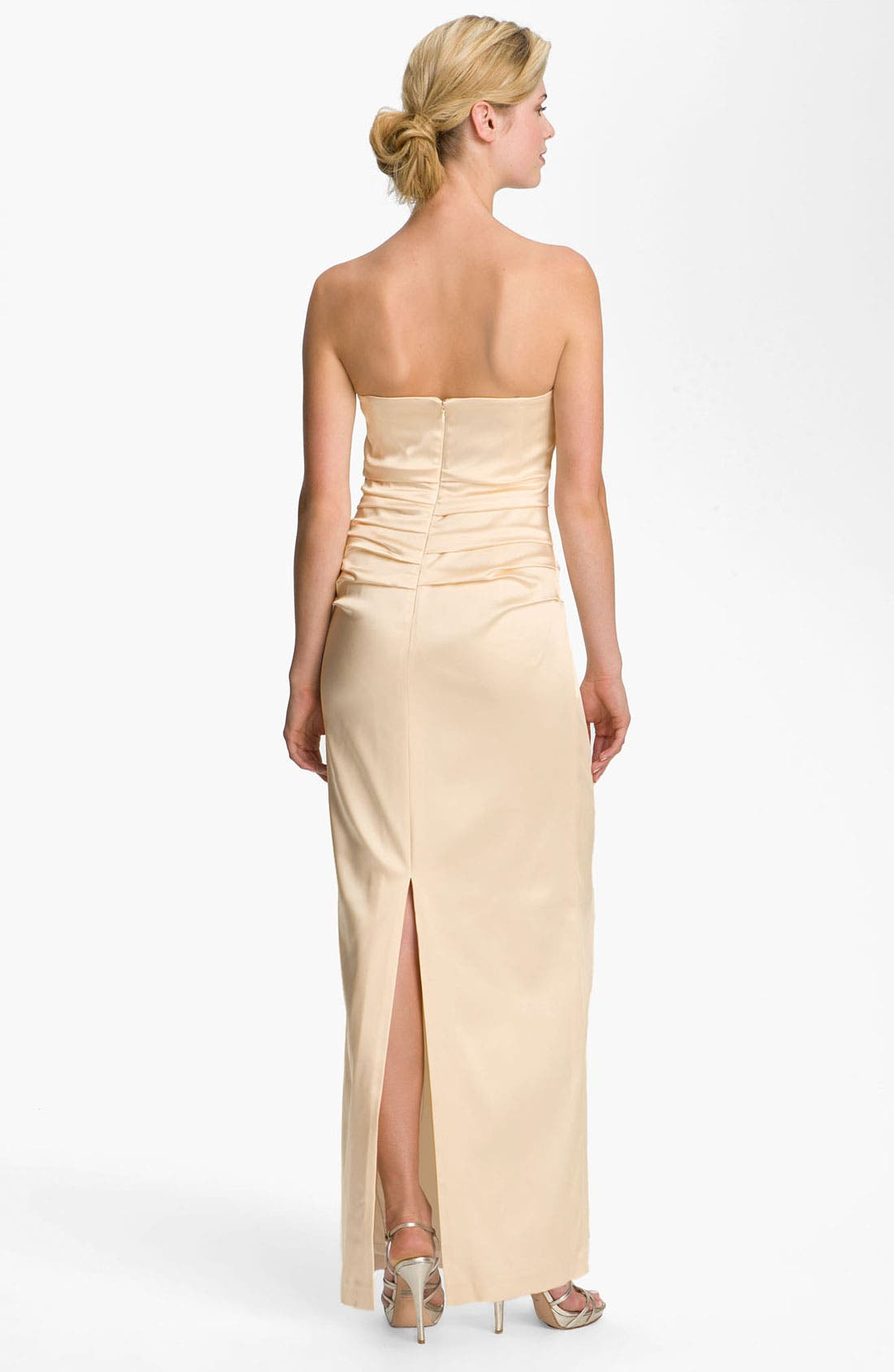 Alternate Image 2  - Suzi Chin for Maggy Boutique Ruched Strapless Satin Gown