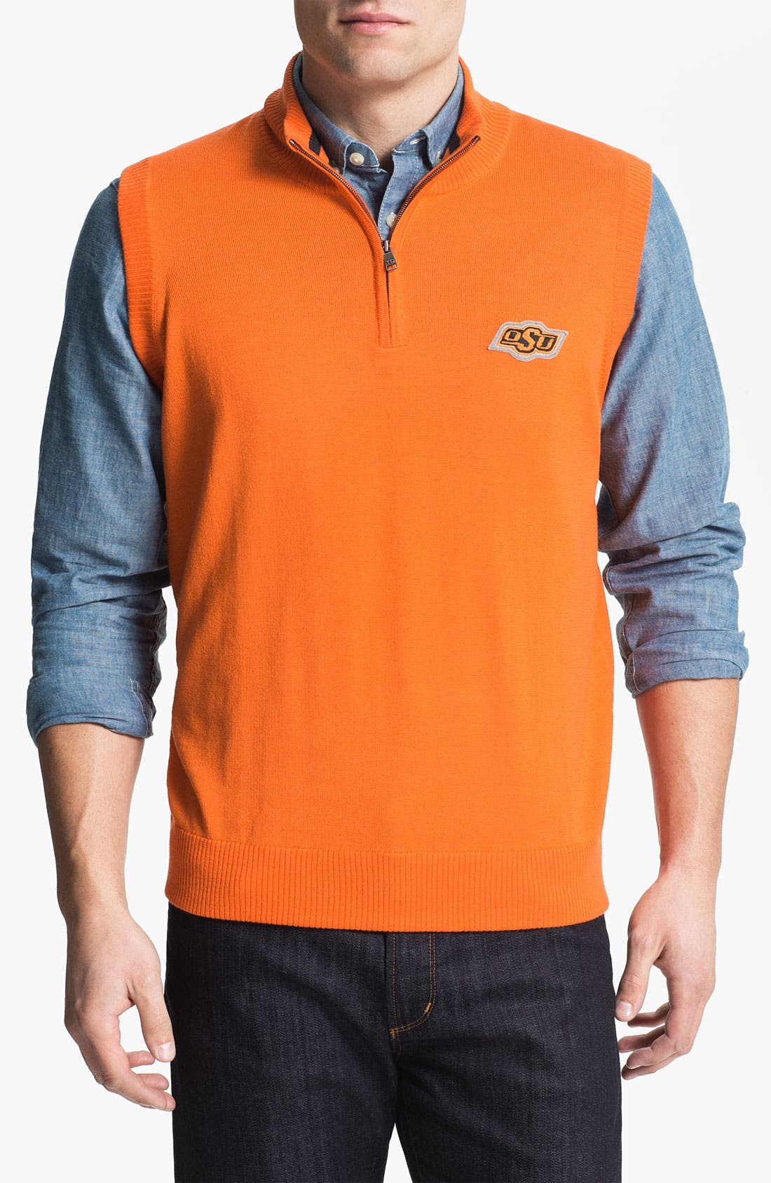 Alternate Image 1 Selected - Thomas Dean 'Oklahoma State' Quarter Zip Sweater Vest