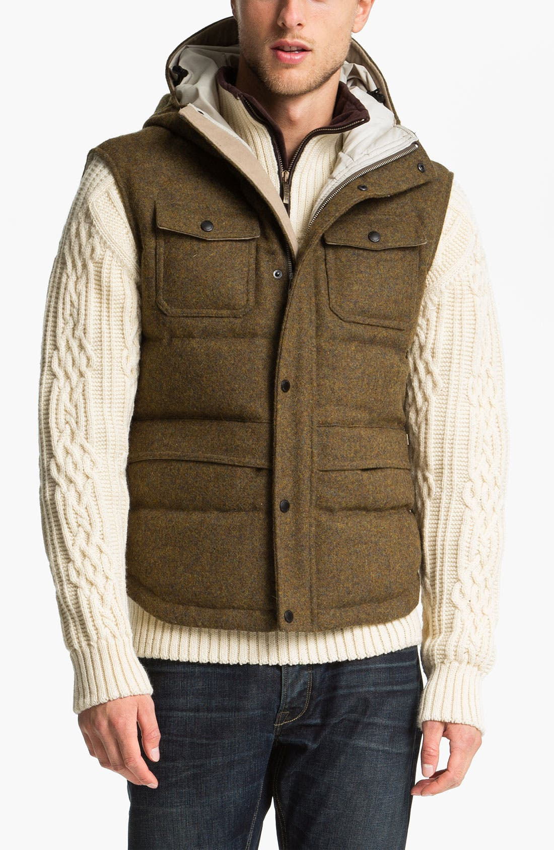 Alternate Image 1 Selected - Hunter Hooded Wool Vest with Down Fill