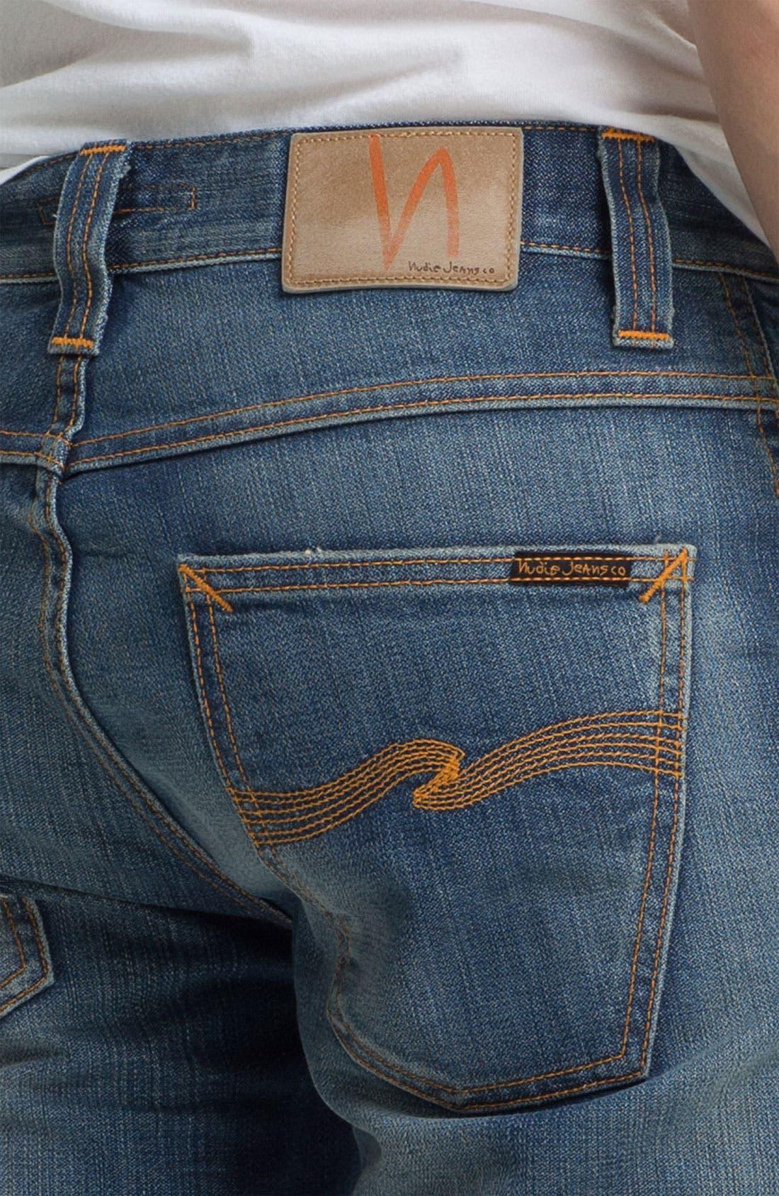 Alternate Image 4  - Nudie 'Slim Jim' Slim Straight Leg Jeans (Organic Broken Dream)