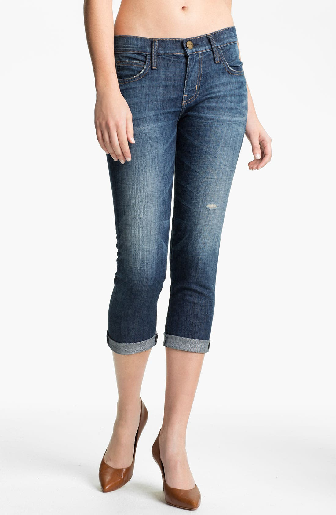 Main Image - Current/Elliott 'The Roller' Crop Stretch Jeans (Wildcard with Destroy)