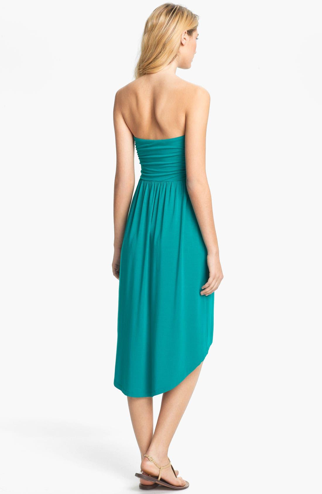 Alternate Image 2  - Tart 'Delaney' Strapless Shirred Jersey High/Low Dress