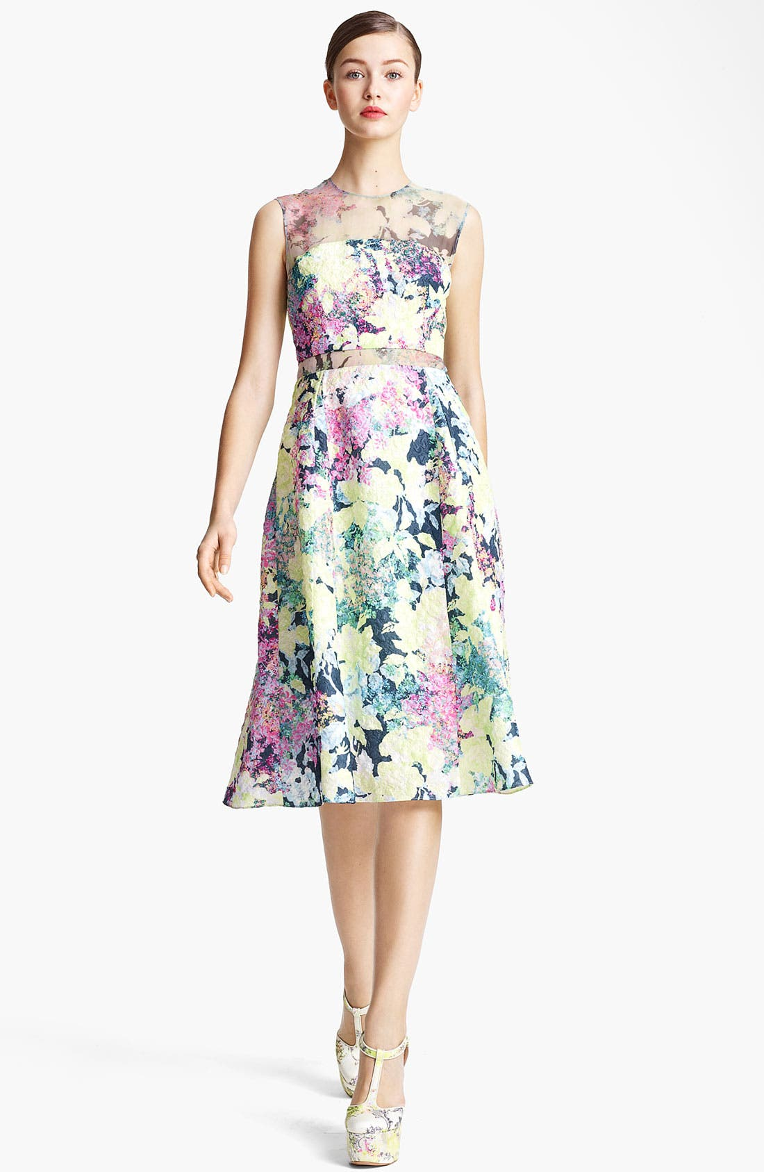 Alternate Image 1 Selected - Erdem 'Imperial Rose' Print Silk Brocade Dress