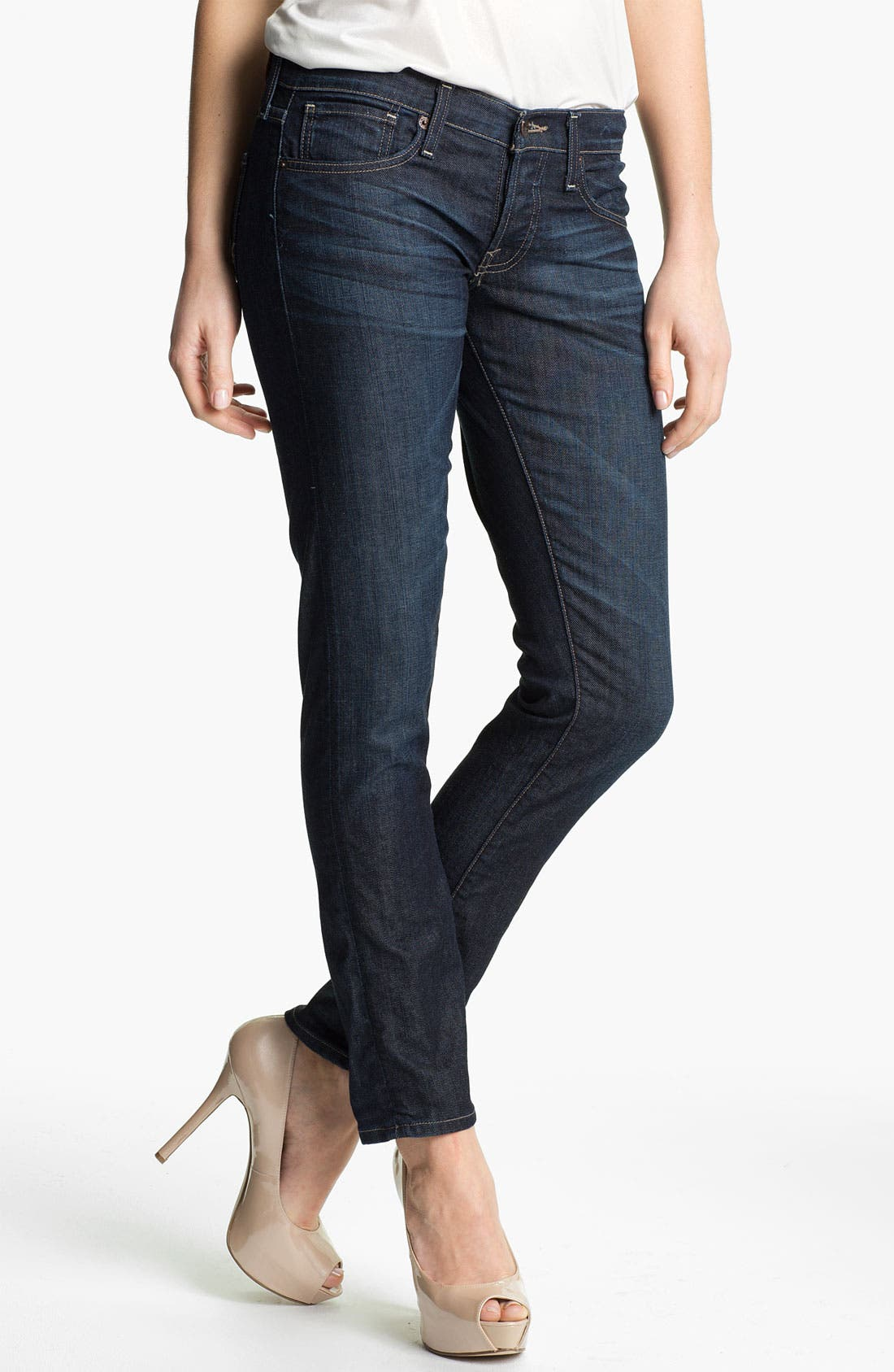 Main Image - Lucky Brand 'Sienna' Cigarette Jeans (Dark Paley) (Online Exclusive)
