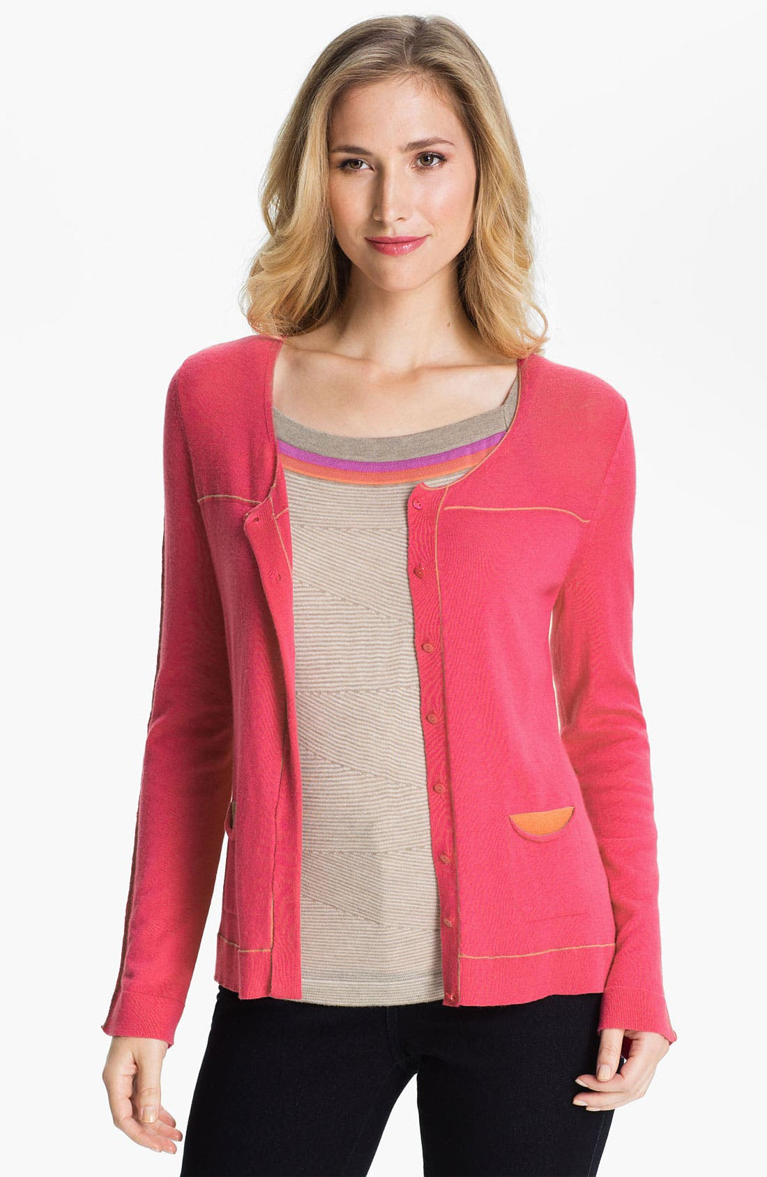 Main Image - Nic + Zoe Tipped Scoop Neck Cardigan