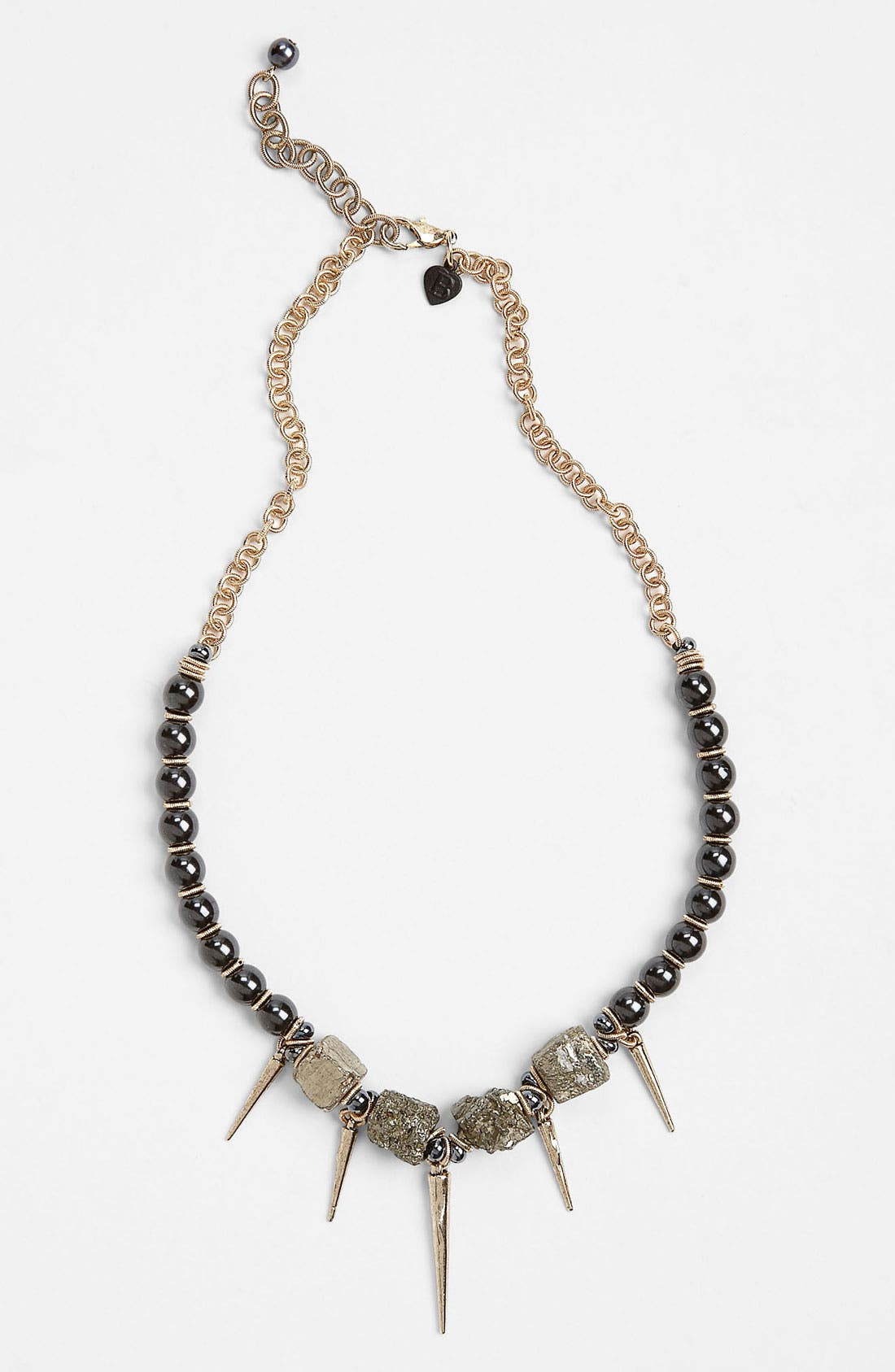 'Spiked Pearl' Necklace,                         Main,                         color, Grey Pearl/ Antique Gold