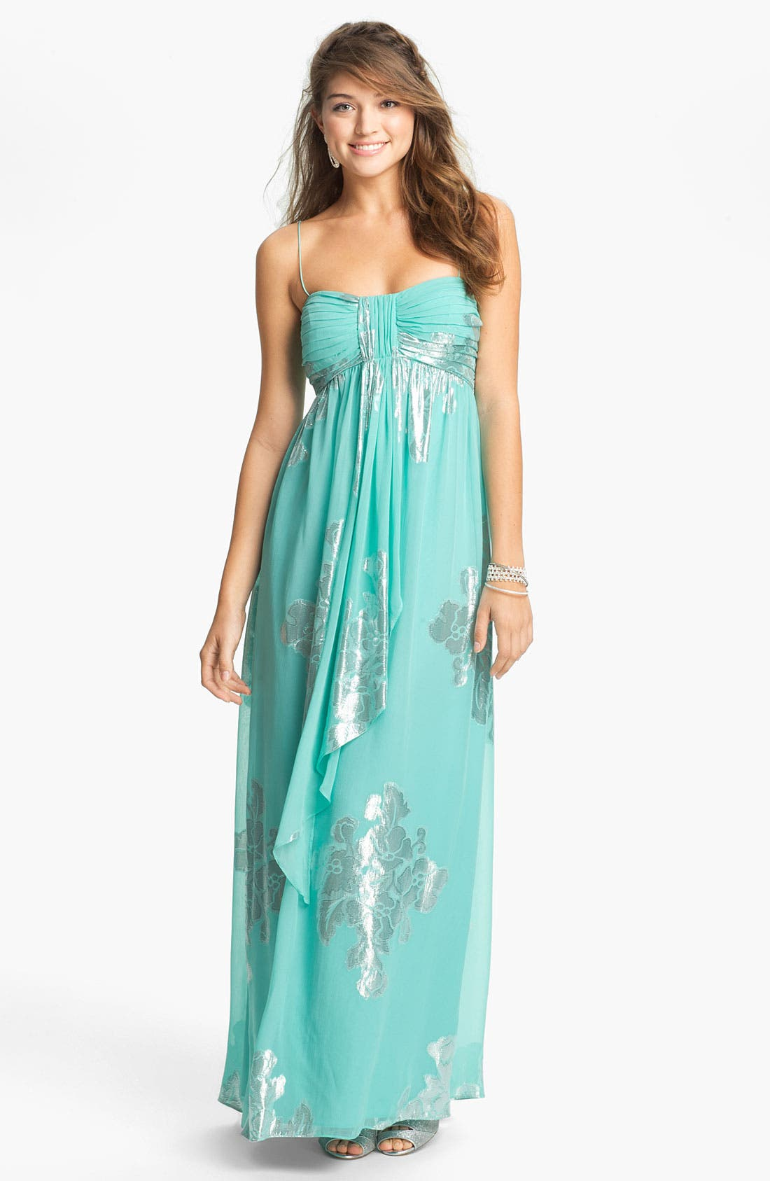 Main Image - Eliza J Metallic Print Silk Chiffon Maxi Dress