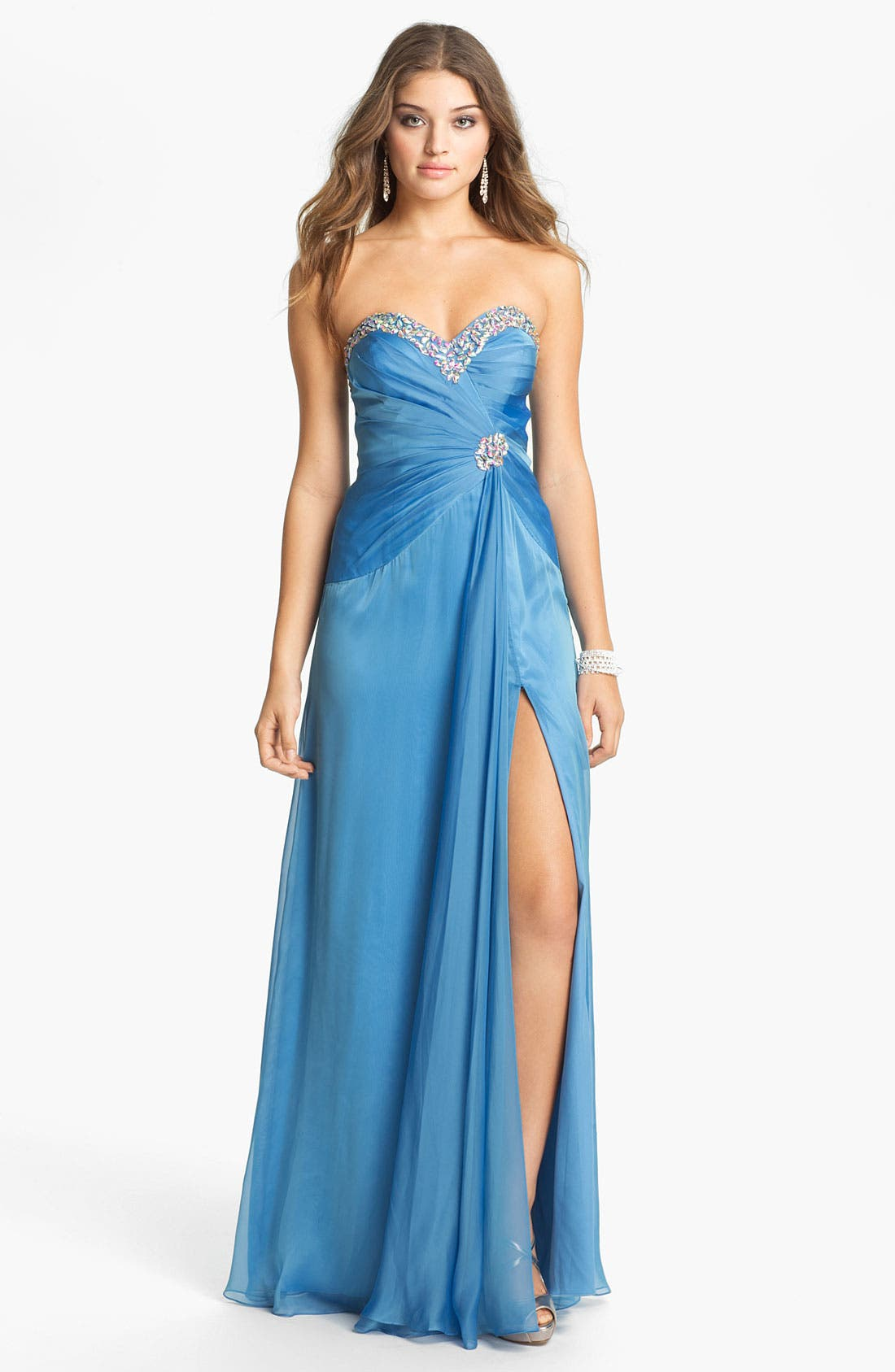 Alternate Image 1 Selected - Faviana Jeweled Sweetheart Silk Chiffon Gown (Online Only)