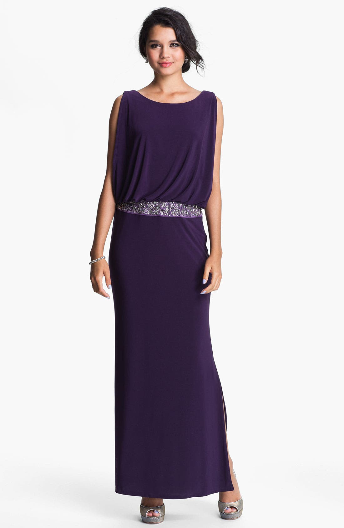 Main Image - JS Boutique Back Keyhole Embellished Blouson Jersey Gown
