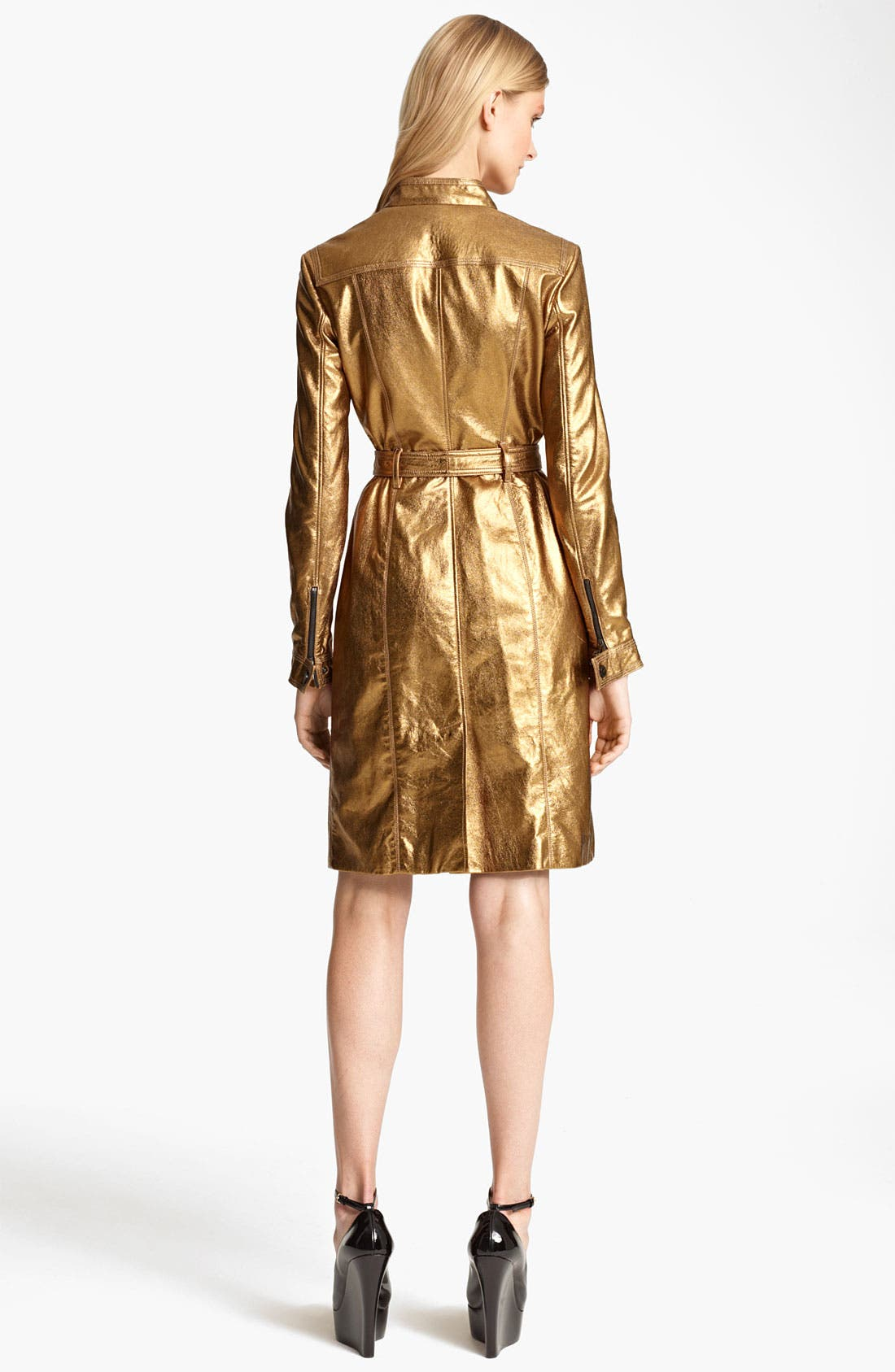 Alternate Image 2  - Burberry London Lightweight Metallic Leather Trench Coat