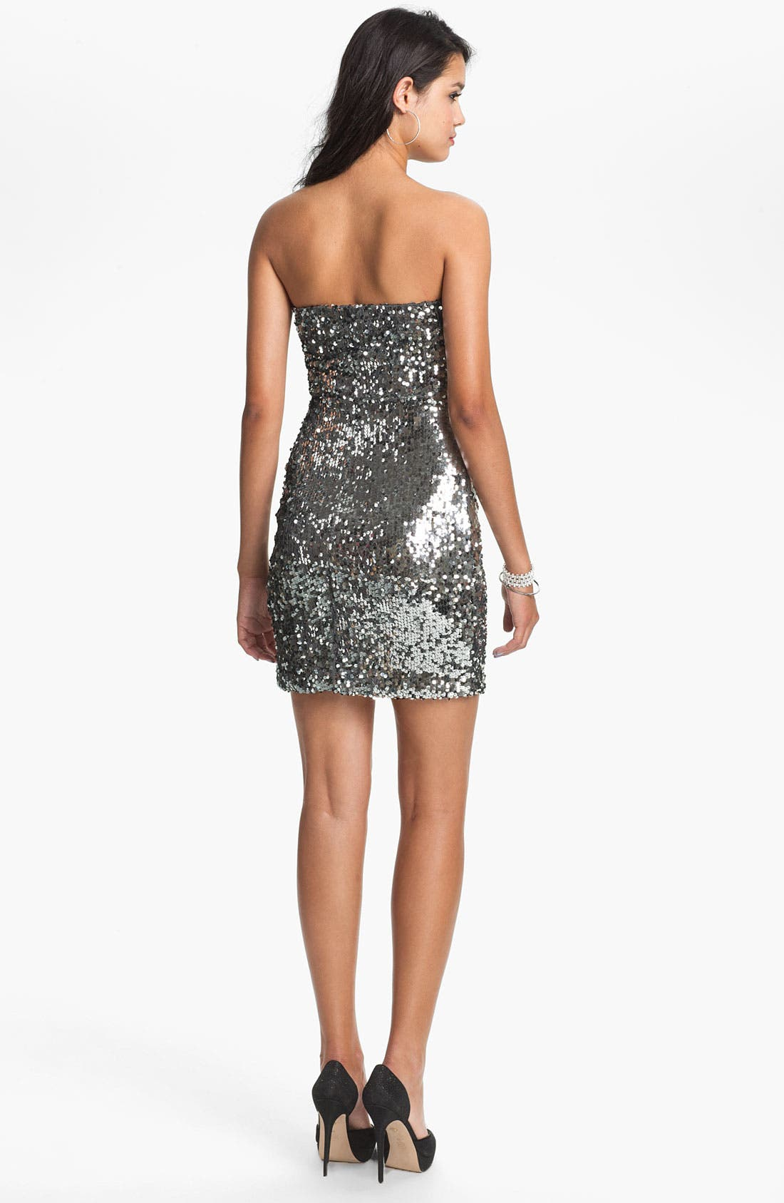 Alternate Image 2  - As U Wish Strapless Sequin Dress (Juniors) (Online Exclusive)