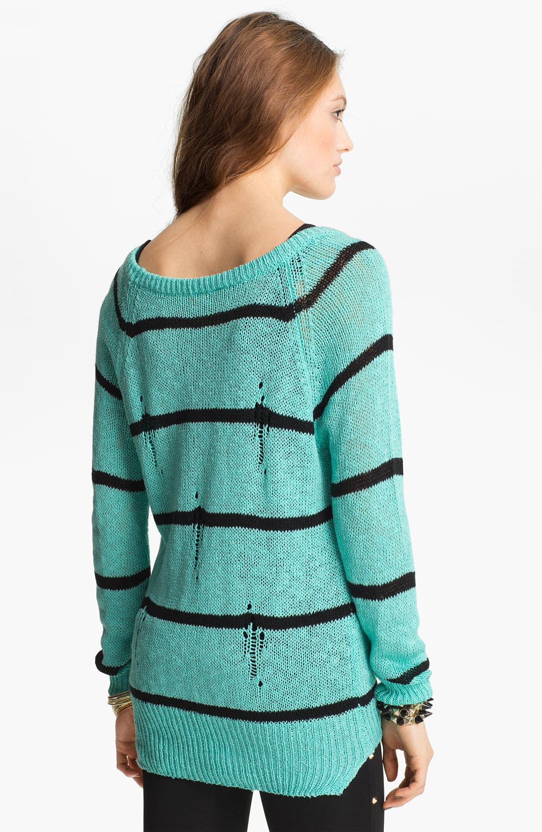 Alternate Image 2  - Love by Design Destroyed Stripe Sweater (Juniors)