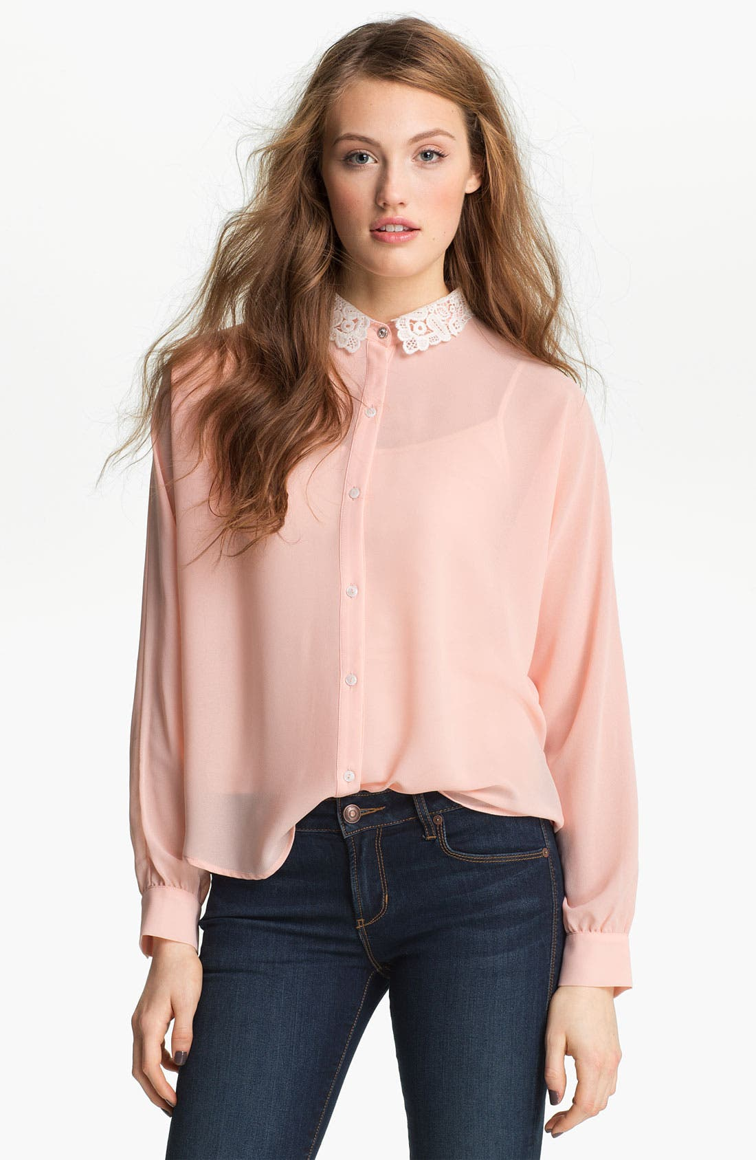 Main Image - Elodie Lace Collar Chiffon Shirt (Juniors)
