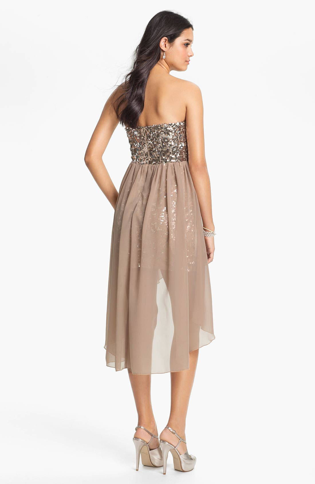 Alternate Image 2  - Way-In Sequin Chiffon Overlay Dress (Juniors)