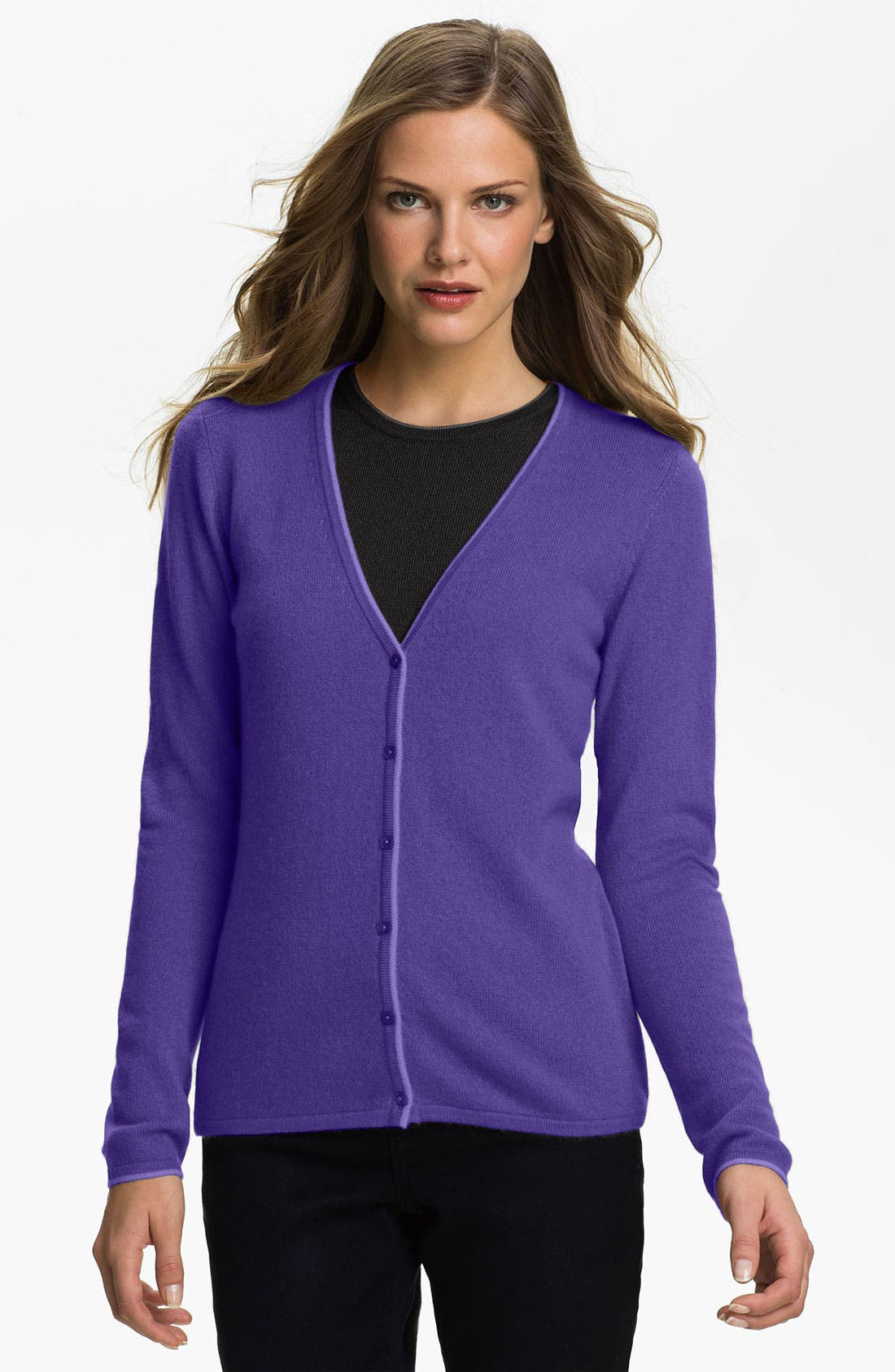 Alternate Image 1 Selected - Lauren Hansen Tipped Cashmere Cardigan