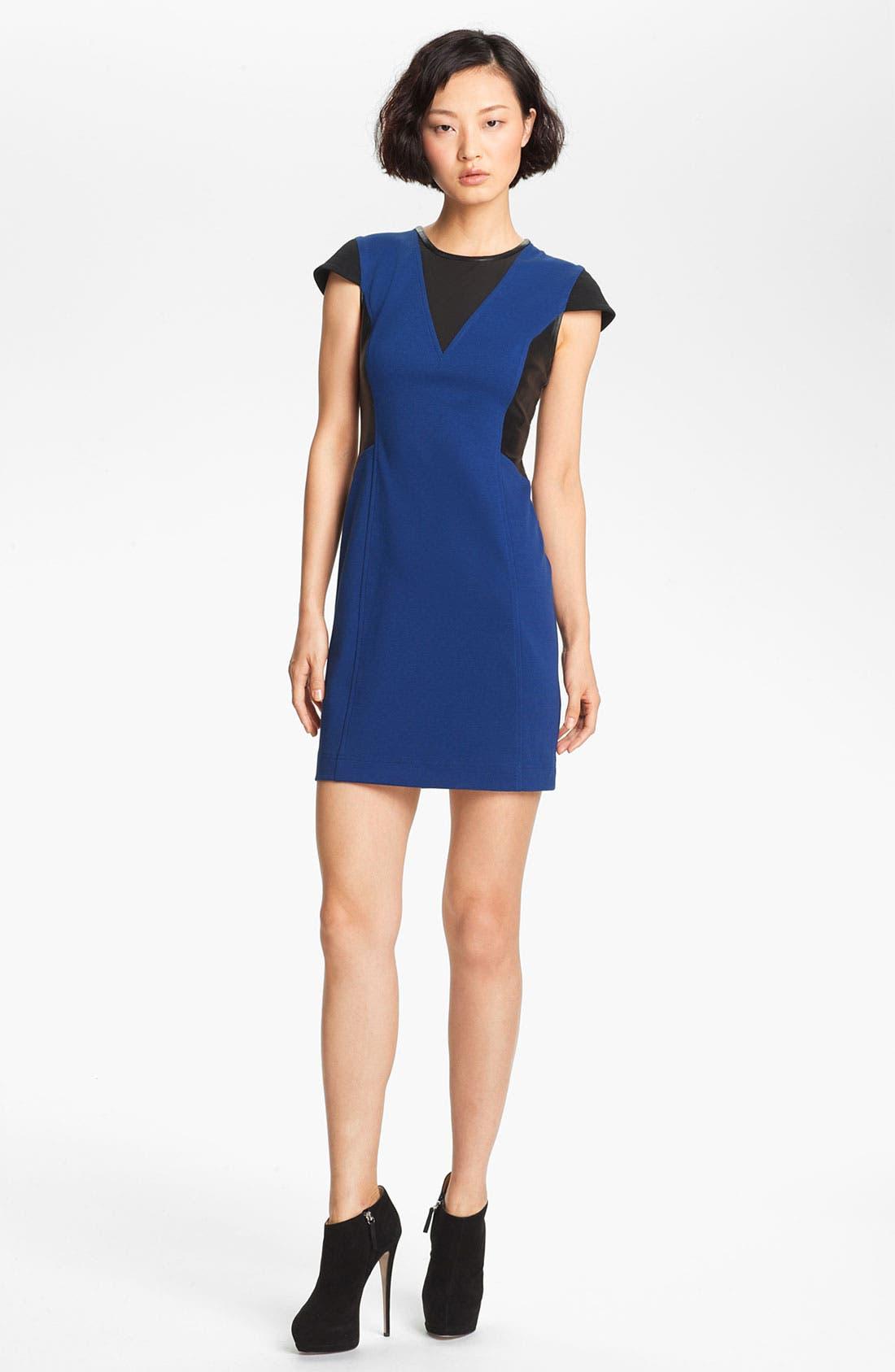 Main Image - Cut25 Leather & Ponte Knit Dress