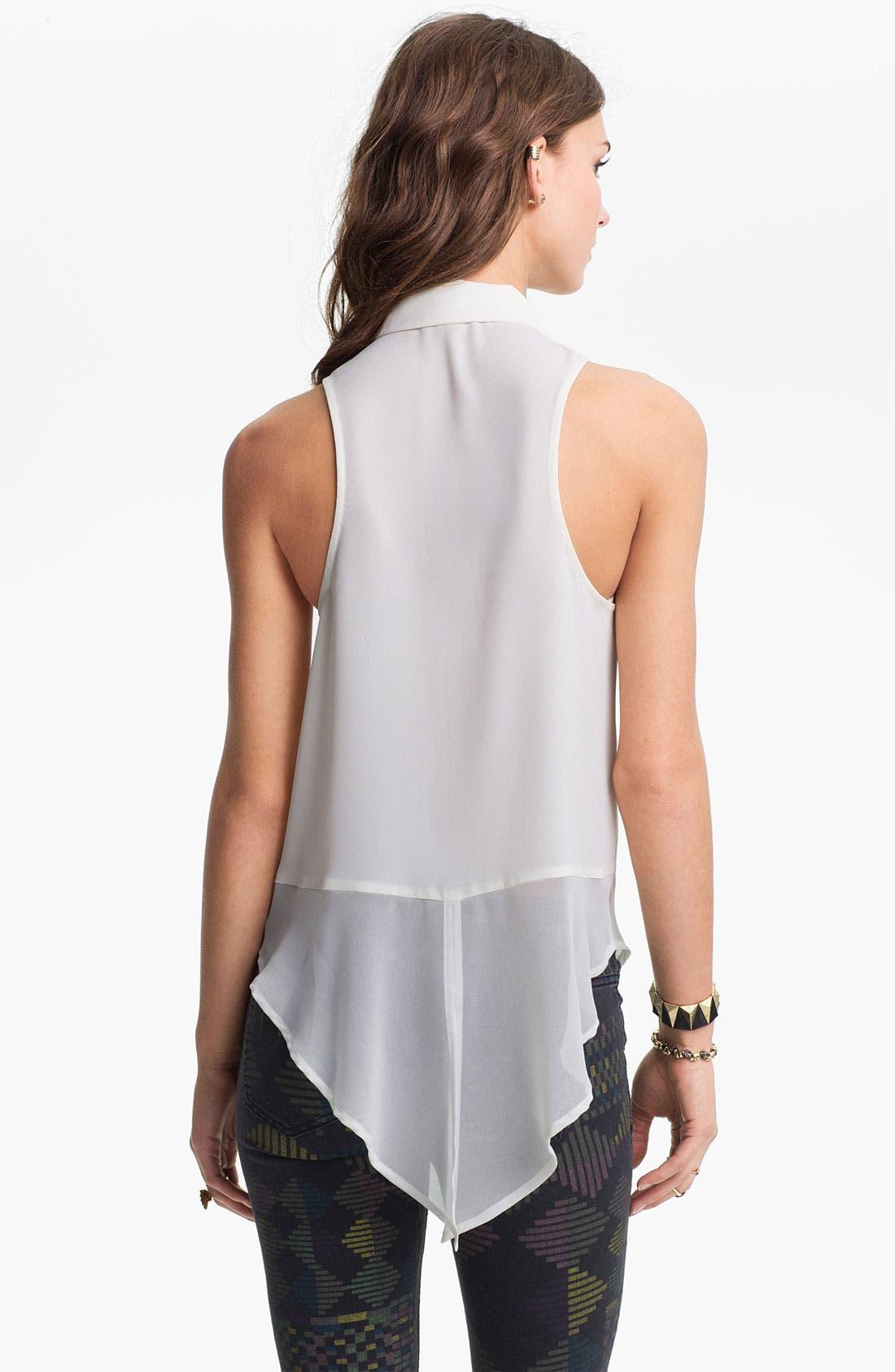 Alternate Image 2  - Neon Stud Collar Sleeveless Shirt