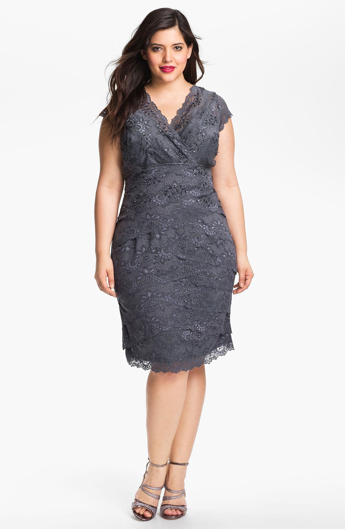 Alternate Image 1 Selected - JS Collections Layered Lace Sheath Dress (Plus)