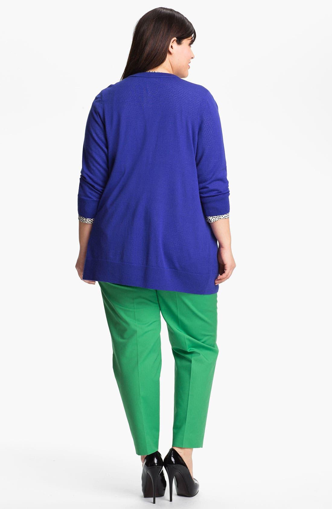 Alternate Image 5  - Sejour Roll Sleeve Print Twill Shirt (Plus)