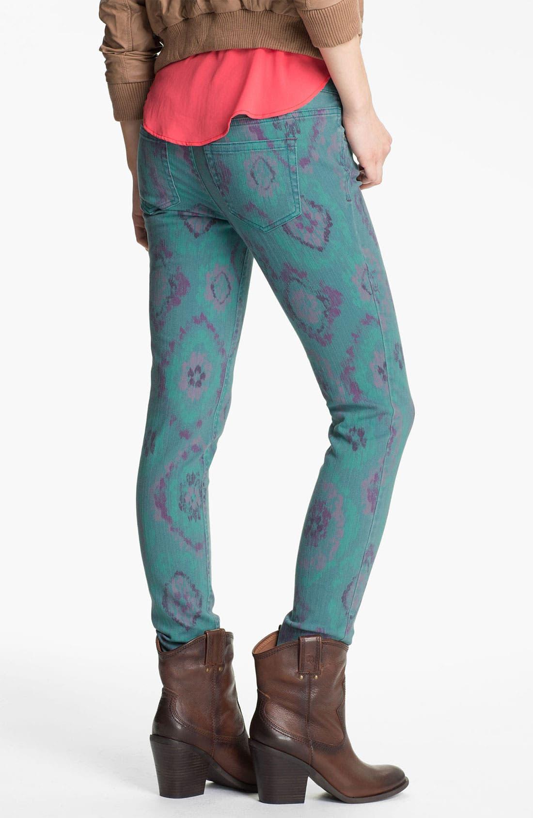 Alternate Image 1 Selected - Fire Print Skinny Jeans (Teal Ikat) (Juniors)