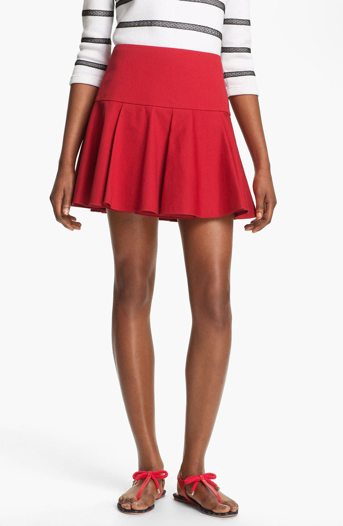 Main Image - RED Valentino Pleated Stretch Gabardine Skirt