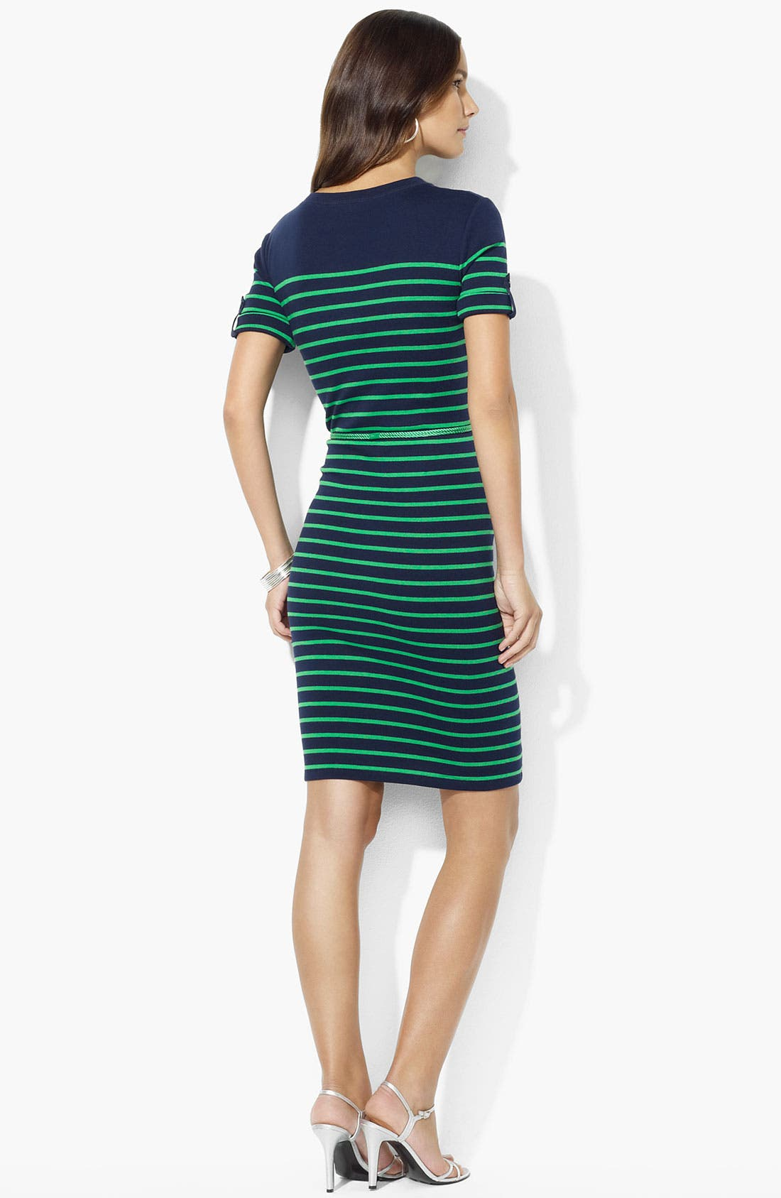 Alternate Image 2  - Lauren Ralph Lauren Roll Sleeve Stripe Dress (Petite)