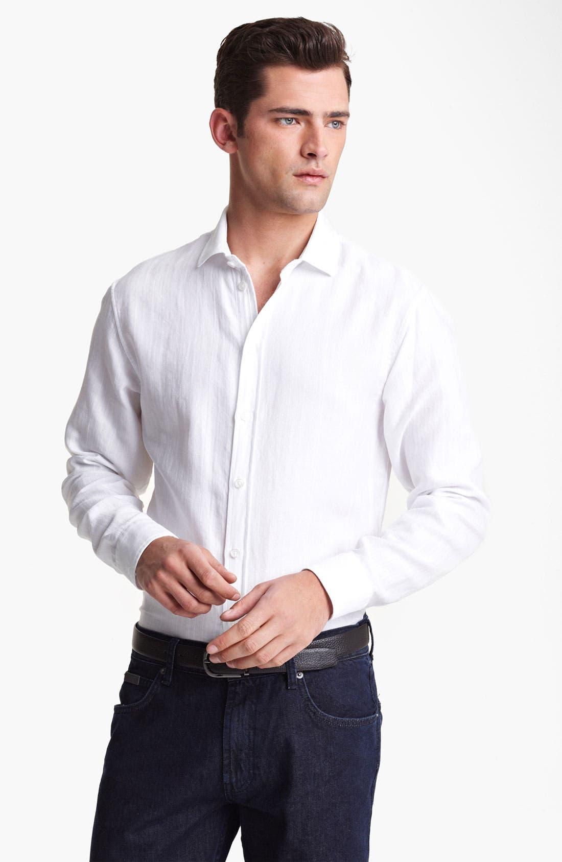 Main Image - Armani Collezioni Piqué Woven Sport Shirt