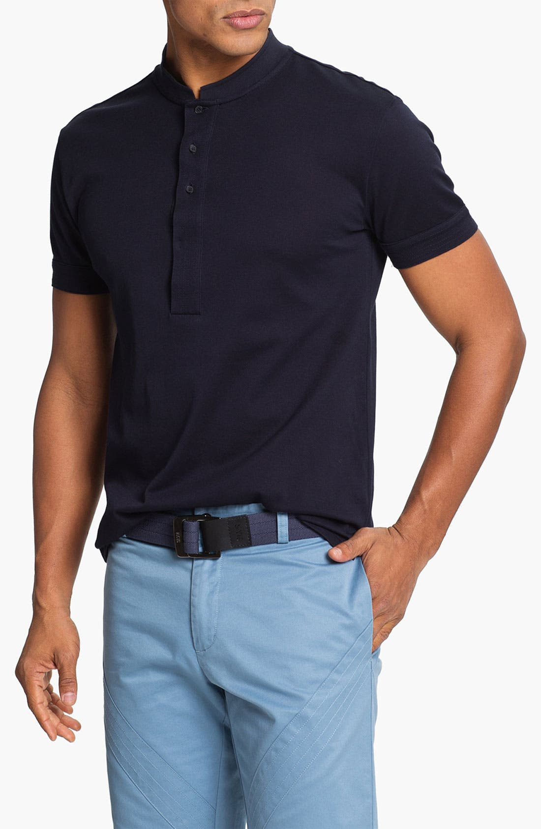 Main Image - adidas SLVR Trim Fit Polo