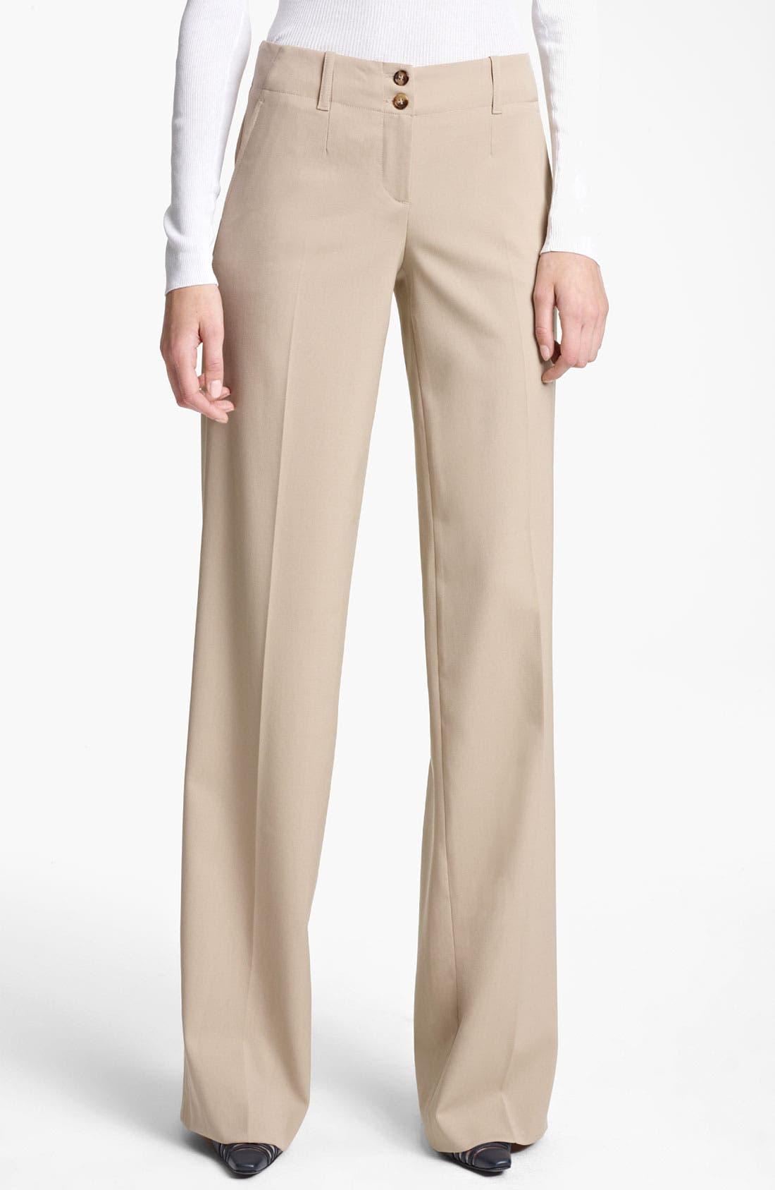 Main Image - Michael Kors Wide Leg Stretch Gabardine Trousers