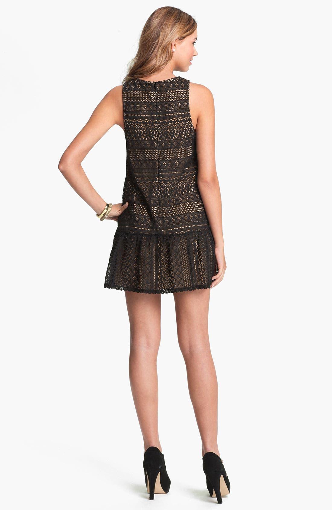 Alternate Image 2  - Lush Crochet Overlay Shift Dress (Juniors)