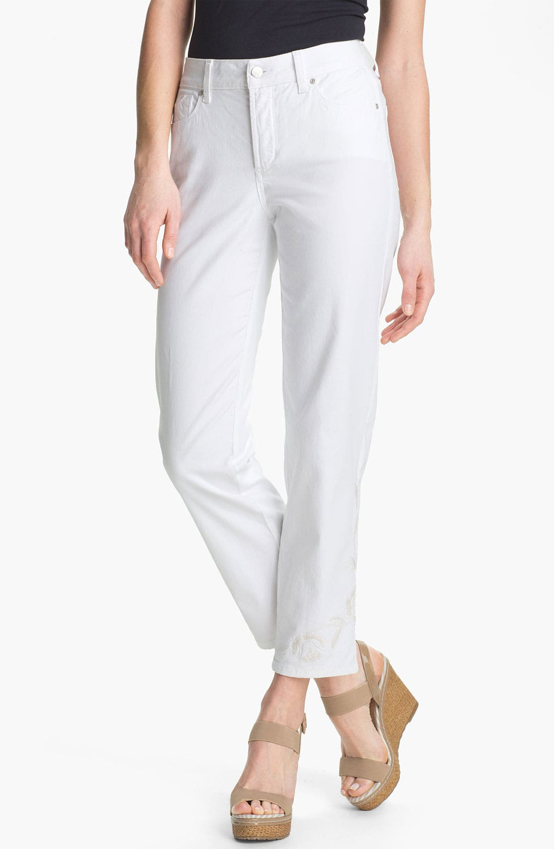 Alternate Image 1 Selected - NYDJ 'Alisha' Embroidered Skinny Stretch Ankle Jeans