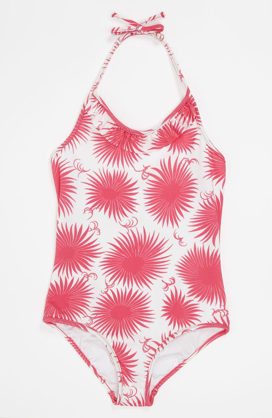 Alternate Image 1 Selected - Milly Minis Ruffle Halter Swimsuit (Little Girls)