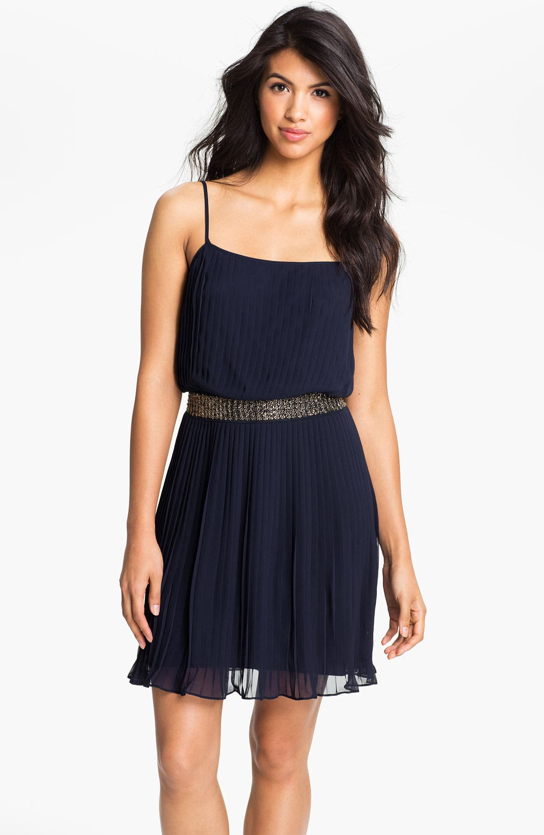 Beaded Pleated Chiffon Dress,                         Main,                         color, Navy