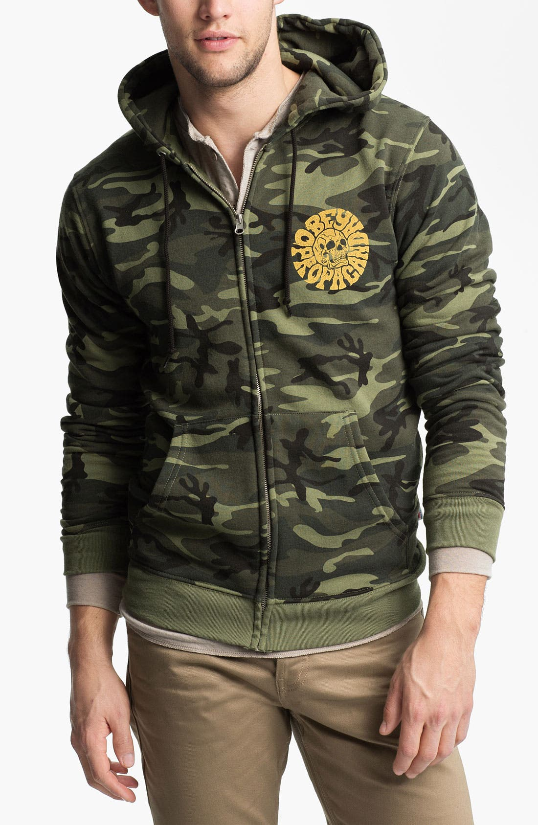 Alternate Image 1 Selected - Obey 'Skull' Graphic Camo Hoodie
