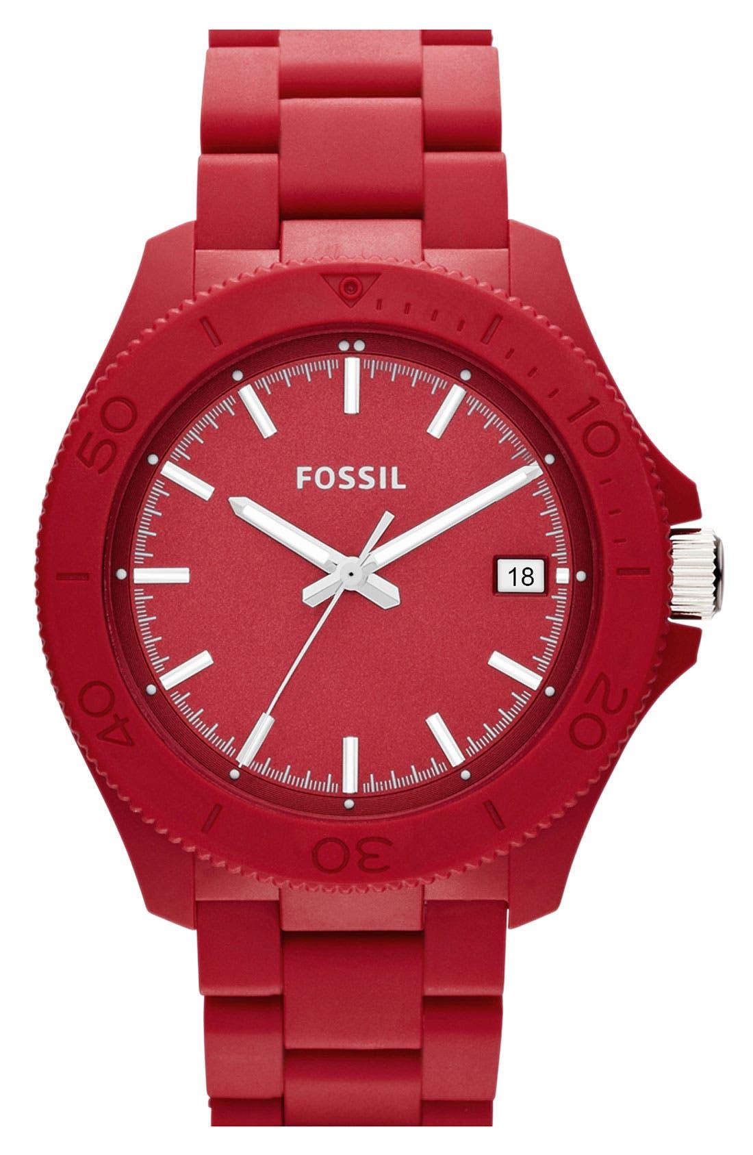 Main Image - Fossil 'Retro Traveler' Resin Bracelet Watch, 44mm