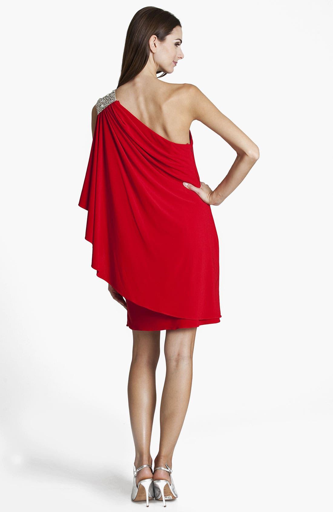 Alternate Image 2  - JS Boutique Embellished One Shoulder Jersey Gown