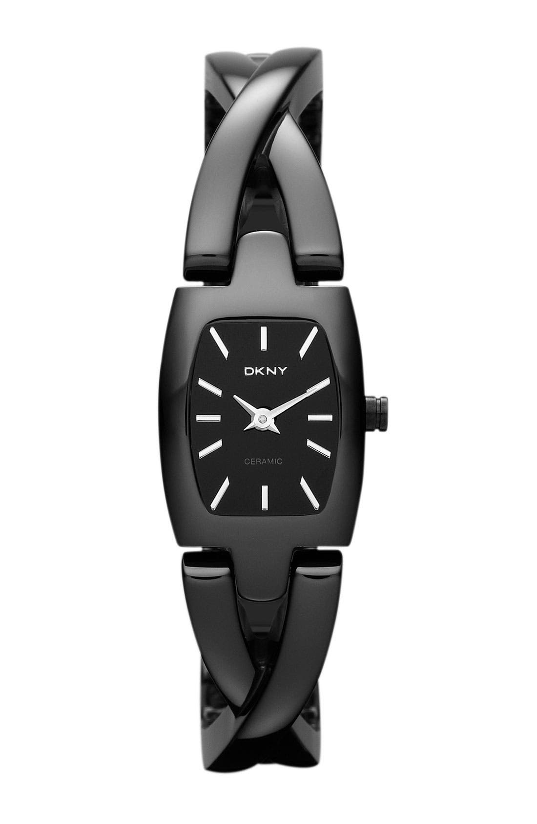 Crossover Ceramic Bangle Watch,                         Main,                         color, Black