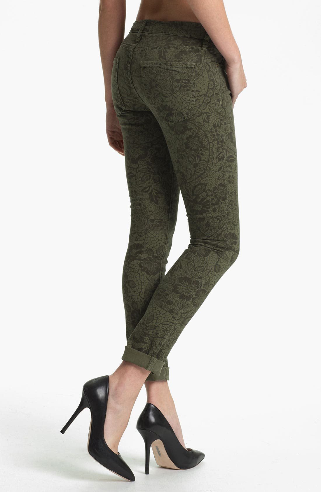 Alternate Image 2  - Current/Elliott 'The Rolled' Print Stretch Jeans (Army Lace)