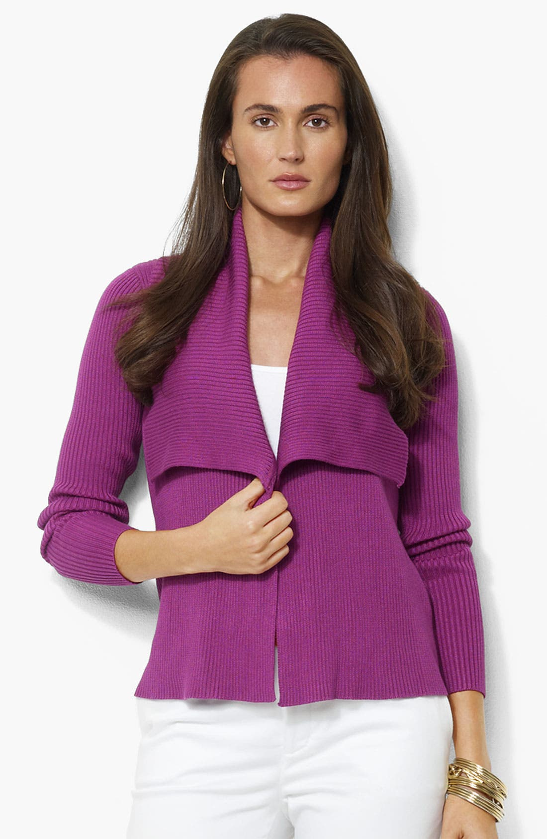 Alternate Image 1 Selected - Lauren by Ralph Lauren Open Front Cardigan (Petite)