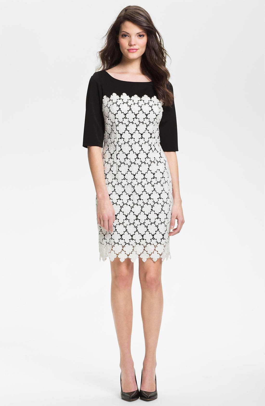 Main Image - Suzi Chin for Maggy Boutique Lace Overlay Sheath Dress