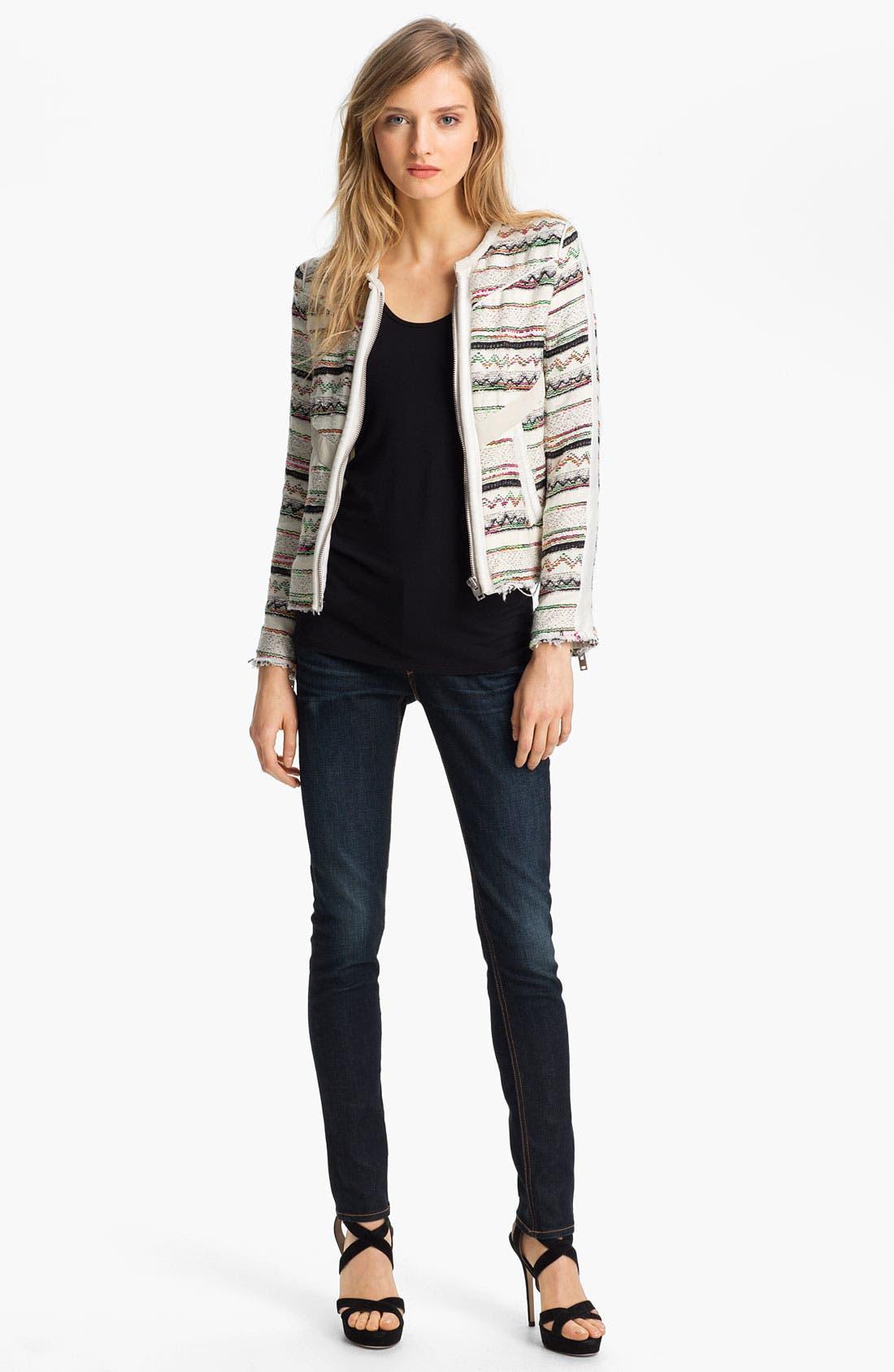 Alternate Image 2  - IRO Collarless Leather Trim Jacket