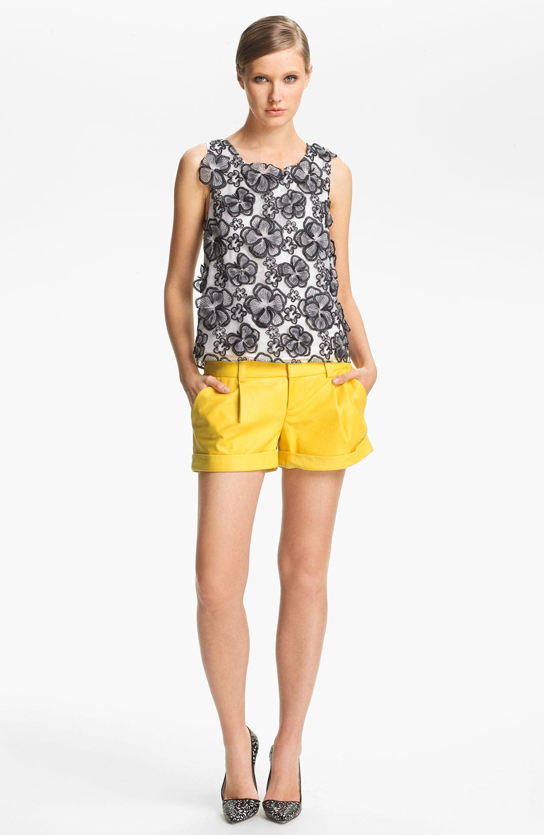 Main Image - Alice + Olivia Flower Embellished Tank
