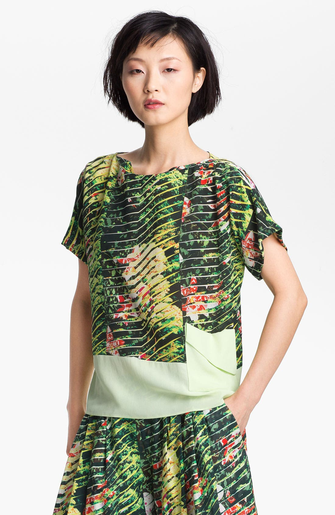 Alternate Image 2  - KENZO Orchid Print Crepe Top