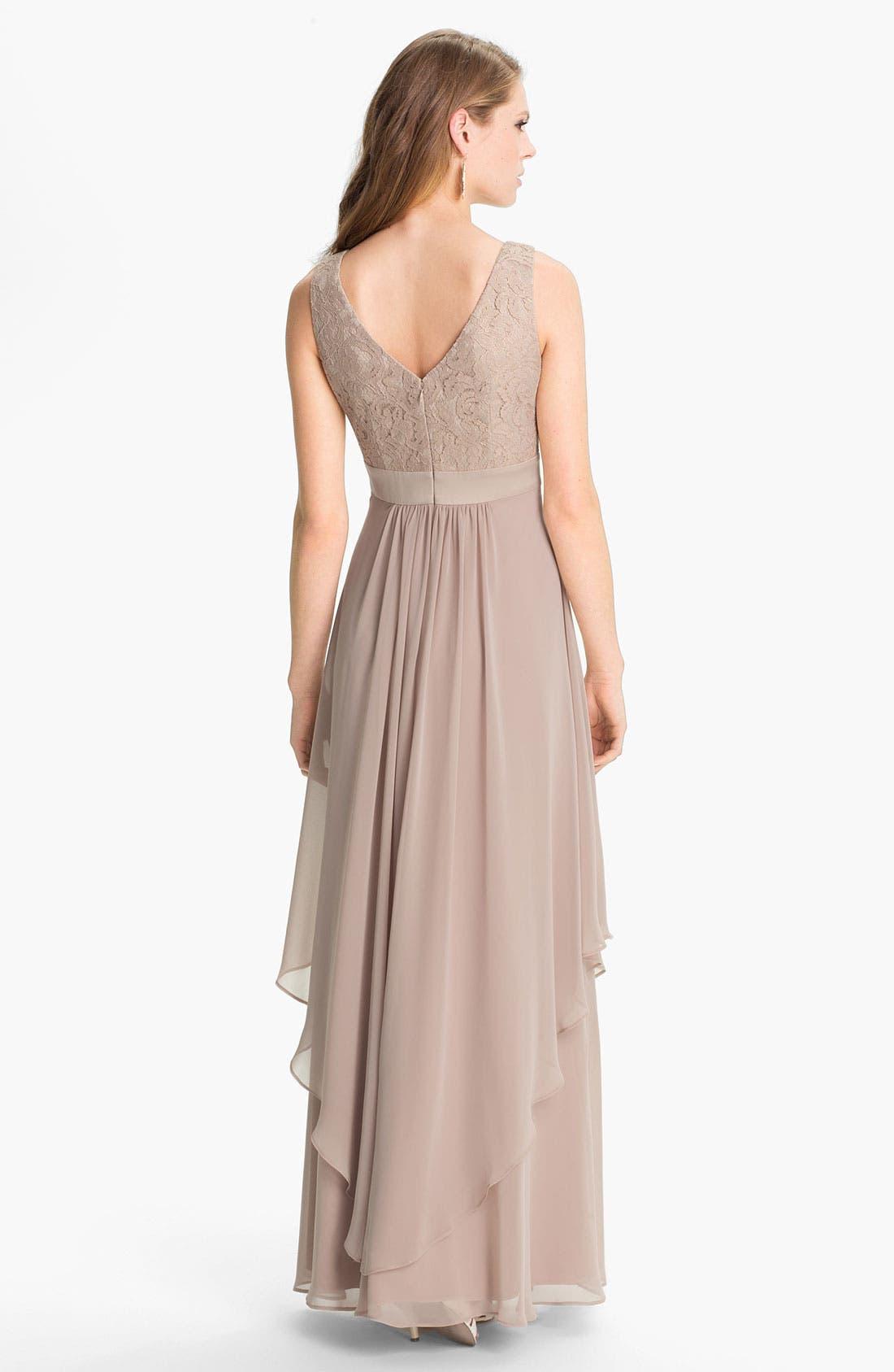 Alternate Image 2  - Eliza J Sleeveless Lace & Chiffon Gown