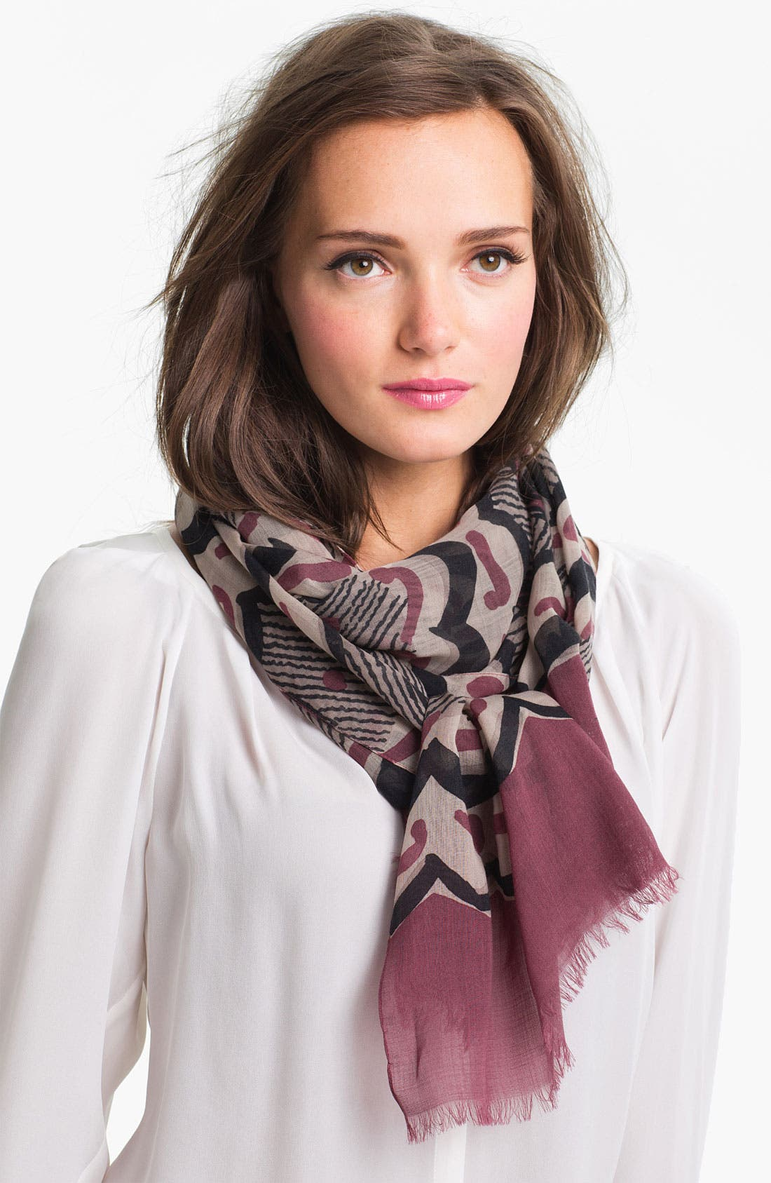 Main Image - Burberry Painted Floral Stripe Scarf