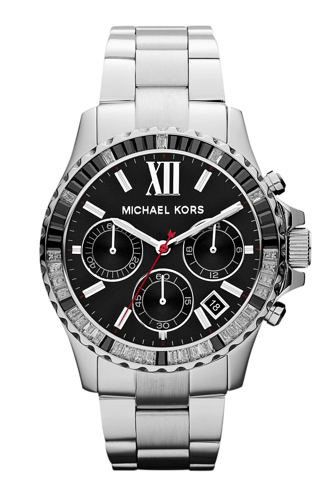 Main Image - Michael Kors 'Everest' Baguette Crystal Bezel Bracelet Watch, 41mm