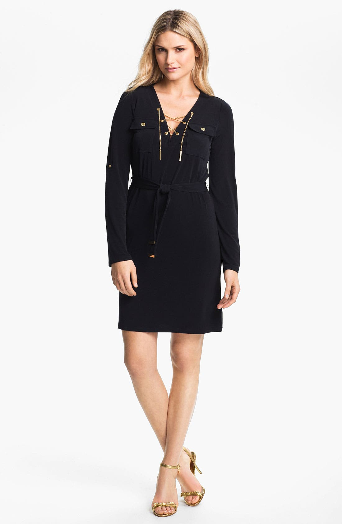 Alternate Image 1 Selected - MICHAEL Michael Kors Chain Lace-Up Jersey Dress (Regular & Petite)