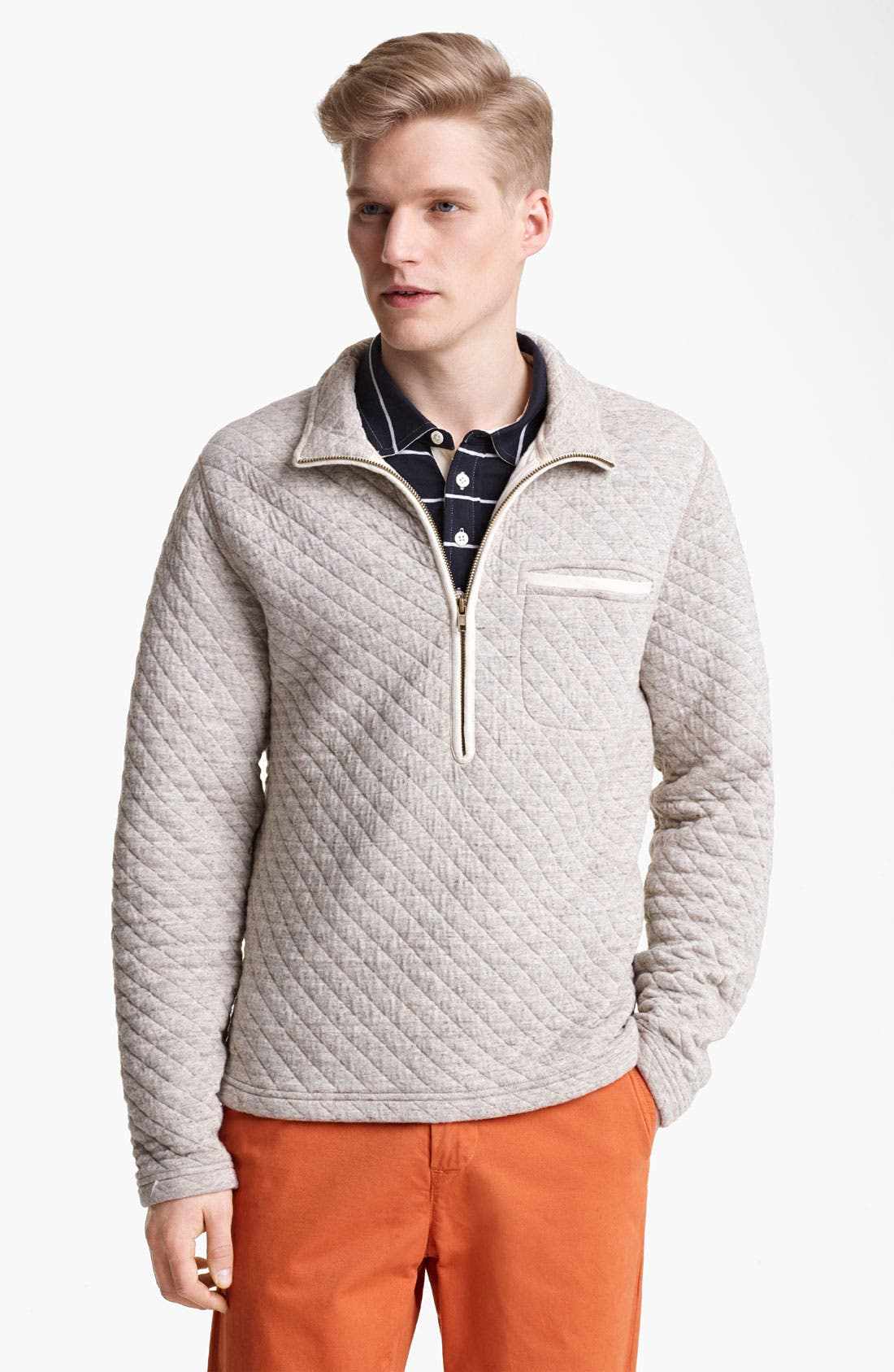 Alternate Image 1 Selected - Billy Reid Half Zip Quilted Pullover