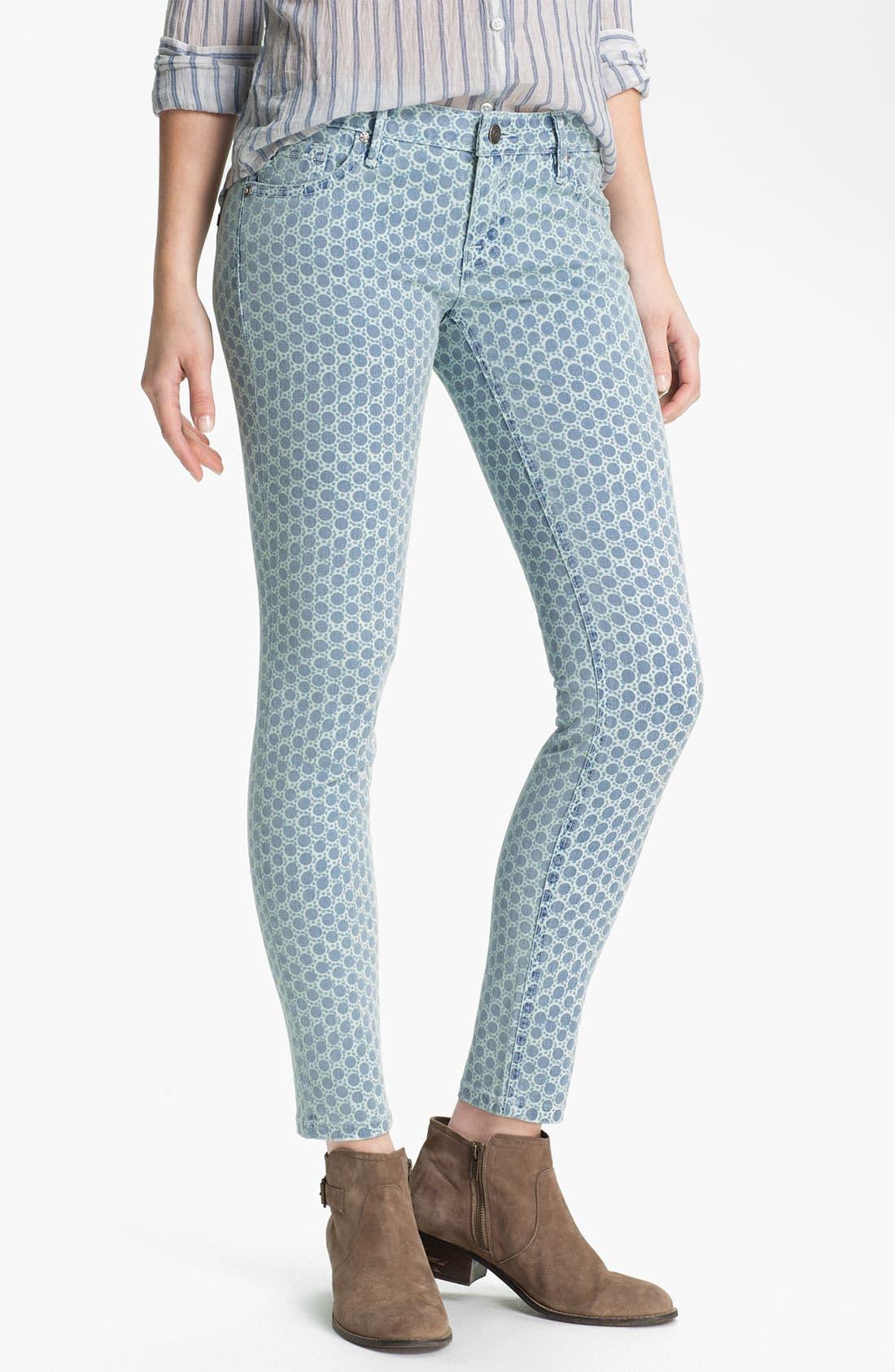 Alternate Image 2  - Vigoss Print Skinny Jeans (Blue Dot) (Juniors)